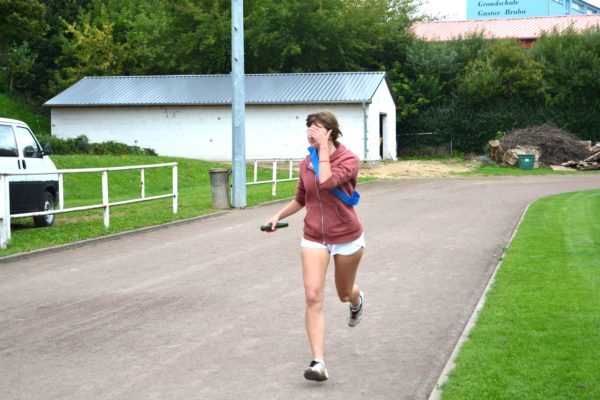 Eine fotoschäue Läuferin