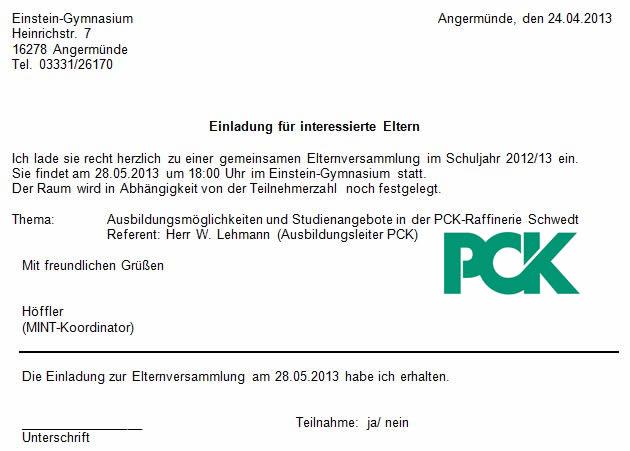 Einstein Gymnasium Angermunde Einladung Elternversammlung